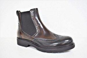 Ботинки Кожа Цвет коричневый+зелёный