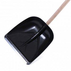 Лопата пластиковая, ковш 400 ? 380 мм, с алюминиевой планкой, с деревянным черенком