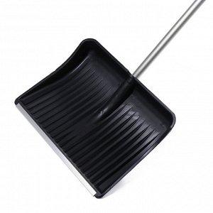 Лопата пластиковая, ковш 515 ? 410 мм, с алюминиевой планкой, алюминиевый черенок, с ручкой