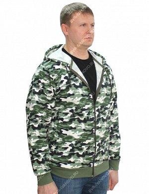 Толстовка на молнии тк.Футер петельный цв.Бело-зелёный КМФ 4465