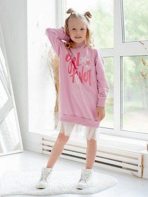 """Платье Платье из футера розового цвета для девочкииз плотного трикотажного полотна в актуальном образе """"спорт-шик"""". Трендовый силуэт oversize и двойная оборка из фатина придают модели особую стильност"""