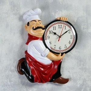 "Часы настенные, серия: Кухня, ""Повар усач"", дискретный ход, 30 х 24 см, d=13 см"