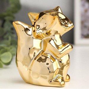 """Сувенир керамика """"Лисичка"""" золото 10х7,7х5 см"""