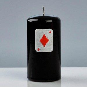 """Свеча - цилиндр """"Покер"""", 6?11,5 см, чёрный"""