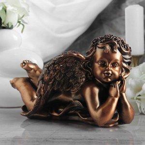 "Статуэтка ""Ангел думающий"" бронзовый цвет, 18 см"