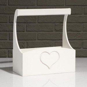 """Кашпо деревянное """"Symmetric Heart"""", с ручкой, белый, 25?12,5?10(28) см"""