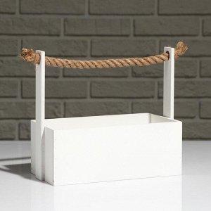 """Кашпо деревянное """"Эллада большая"""", ручка верёвка, белый, 25?12,5?10(23) см"""