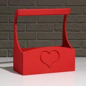 """Кашпо деревянное """"Symmetric Heart"""", с ручкой, красный, 25?12,5?10(28) см"""
