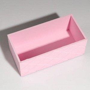 """Кашпо деревянное """"Эллада большая, сетка"""", розовый, 25?12,5?10 см"""