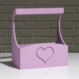 """Кашпо деревянное """"Symmetric Heart, сердце"""", с ручкой, лиловый, 25?12,5?10(28) см"""