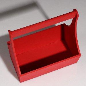"""Кашпо деревянное """"Виллиан Лонг"""", с ручкой, красный, 25?12,5?10(28) см"""