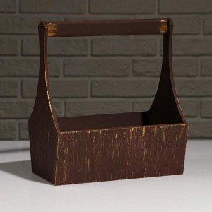"""Кашпо деревянное """"Виллиан Лонг"""", с ручкой, золотой винтаж, 25?12,5?10(28) см"""