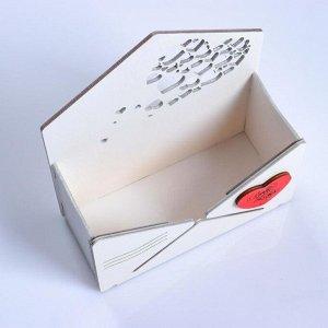 """Кашпо деревянное """"Конверт Облако сердец"""", белый, 16?6.8?18.5 см"""