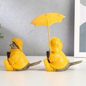 """Сувенир полистоун """"Воробьи в дождевиках, с зонтом"""" набор 2 шт 8,3х9,8х5,5 см"""