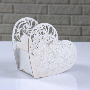 """Кашпо деревянное """"Сердце ажурное"""", белый, 18?8.6?14 см"""