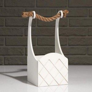 """Кашпо деревянное """"Symmetric Cell"""", ручка верёвка, белый, 12,5?12,5?10(28) см"""