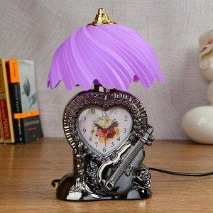 """Часы-светильник """"Сердце""""  с будильником, 1 АА, дискретный ход, циферблат 7.2х5.6 см"""