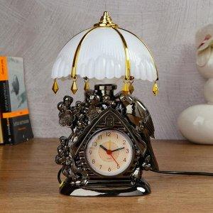 "Часы-светильник ""Домик""  с будильником,1 АА, дискретный ход, 12.5х5х25 см"