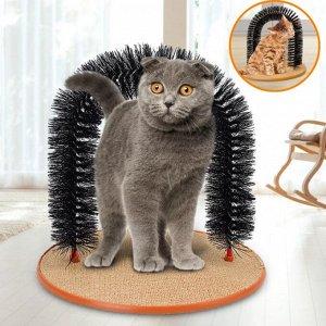 Когтеточка со щеткой «кошачье удовольствие»