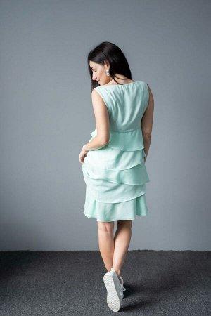 Платье Платье NOCHE MIO 1.472-4  Состав: Вискоза-24%; Эластан-3%; Тенсел-73%; Сезон: Лето Рост: 164  Эффектное платье приятного цвета мятного оттенка с ассиметричными воланами. Длина 93 см.