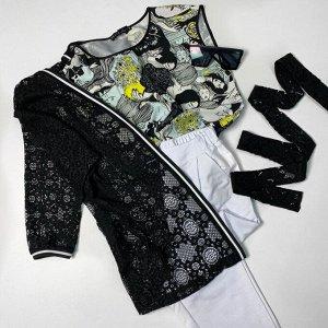 Топ Топ NOCHE MIO 6.944-3  Состав: Вискоза-59%; ПЭ-38%; Эластан-3%; Сезон: Лето Рост: 164  Базовая блузка с оригинальным принтом для создания летних образов с вашими любимыми брюками или юбками.