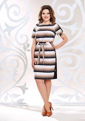 Платье Платье Mira Fashion 4815  Состав: Хлопок-53%; Лён-39%; Другие волокна-8%; Сезон: Весна-Лето Рост: 164  Летнее платье полу- прилегающего силуэта, выполнено из ткани в полоску (не тянется) и одн