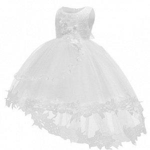 Детское платье, белое, со шлейфом