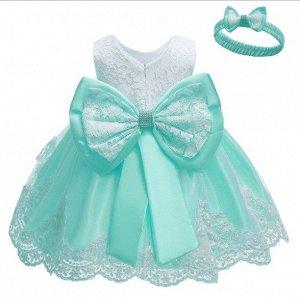 Детское платье, светло-зеленое, с бантом