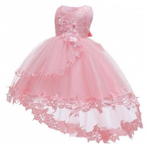 Детское платье, розовое, со шлейфом