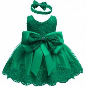 Детское платье, зеленое, с бантом