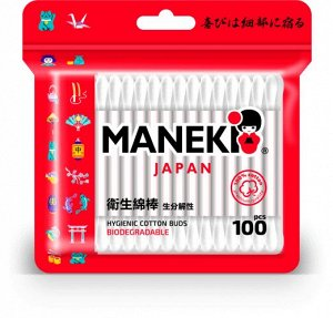 """Палочки ватные гигиен. """"Maneki"""" RED, с белым бум. стиком, в zip-пакете, 100 шт./упак"""