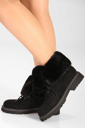 Черный Высота каблука: 3,5 см. Высота голенища: 11 см. Полнота: средняя. Декор: нет. Застежка: шнурки. Утеплитель: искусственный мех. Материал верха: искусственная замша. Материал подошвы: резина.