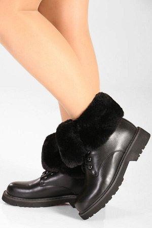 Черный Высота каблука: 3 см. Высота голенища: 11 см. Полнота: средняя. Декор: нет. Застежка: шнурки. Утеплитель: искусственный мех. Материал верха: искусственная кожа. Материал подошвы: резина.