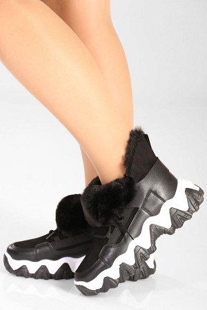 Черный Высота голенища: 10,5 см. Высота каблука: 5,5 см. Полнота: средняя. Декор: нет. Застежка: шнурки. Утеплитель: искусственный мех. Материал верха: искусственная замша, искусственная кожа. Материа