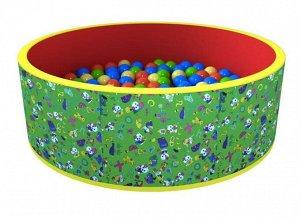 """Romana Сухой бассейн """"Веселая полянка"""" 100*33 см, 100 шариков,оксфорд ткань, таффета"""