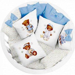 Комплект в кроватку  18 предметов (принт. под., подушка на молнии), сатин/бязь