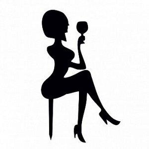 """Топпер силуэт """"Девушка сидит с бокалом"""" черный 12*19 см"""