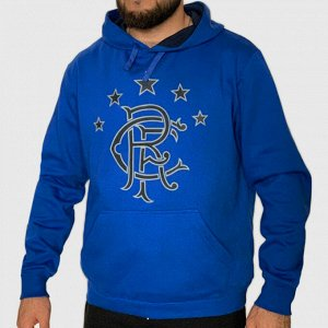 Синяя мужская кофта толстовка Rangers – под спортивный стиль и городской кэжуал №128