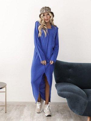 Синее демисезонное ангоровое платье