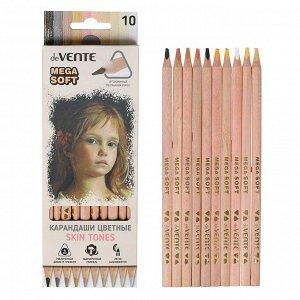 Карандаши художественные мягкие 10 цветов, deVENTE Skin Tints Mega Soft (на масляной основе, грифель d-4 мм, трехгранные)