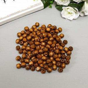 """Бусины деревянные """"Астра"""" круглые, 10 мм, 50 гр, коричневый"""