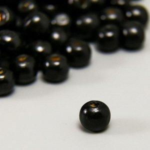 """Бусины деревянные """"Астра"""" круглые, 10 мм, 50 гр, чёрный"""
