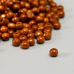 """Бусины деревянные """"Астра"""" круглые, 8 мм, 50 гр, коричневый"""