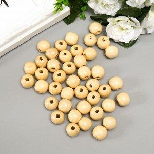 """Бусины деревянные """"Астра"""" круглые, 16 мм, 50 гр, натуральное дерево"""