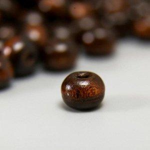 """Бусины деревянные """"Астра"""" круглые, 8 мм, 50 гр, тёмно-коричневый"""