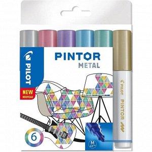 Маркер для декора Набор 6цв Pilot PINTOR Metal перман. 4.5мм, пласт/уп Pintor-Metal-M-S6_
