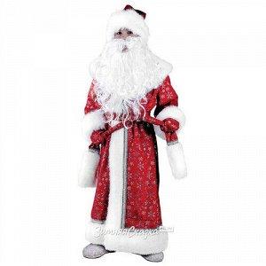 Карнавальный костюм Дед Мороз Плюшевый красный, рост 128 см (Батик)