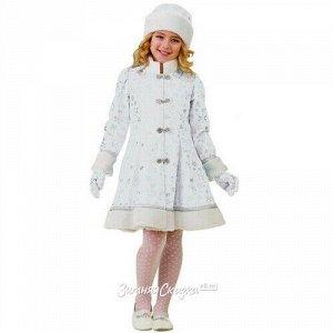 Карнавальный костюм Снегурочка Плюшевая белый, рост 128 см (Батик)