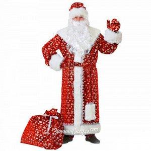 Карнавальный костюм для взрослых Дед Мороз Плюшевый красный, 54-56 размер (Батик)