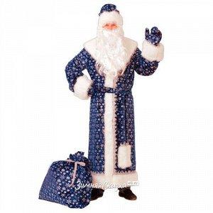 Карнавальный костюм для взрослых Дед Мороз Плюшевый синий, 54-56 размер (Батик)